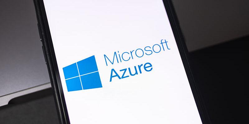 Microsoft Azure logo on smartphone screen. Rostov-on-Don, Russia